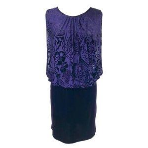 Velvet Blouson Short Cocktail Dress Size 14W NWT